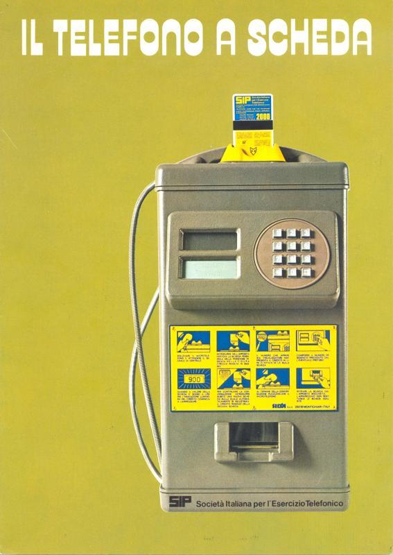 Frontespizio di un pieghevole prodotto da Sip che illustra tutte le novità della scheda telefonica, 1976