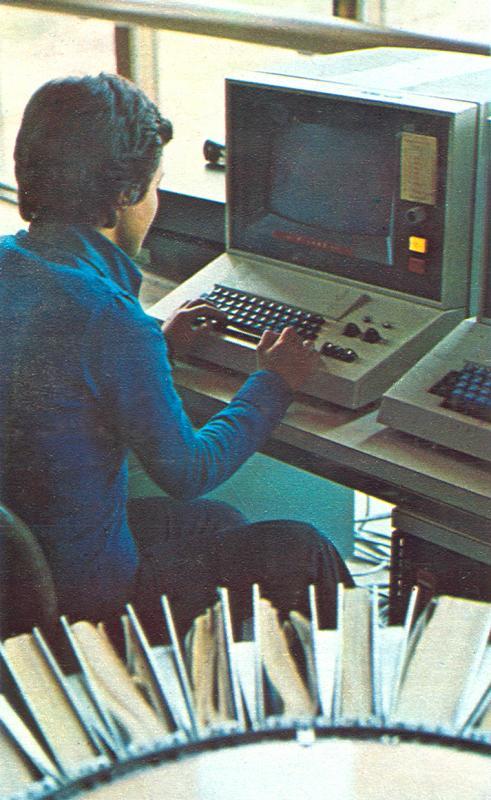Operatore della centrale Italcable di Acilia (Roma), 1974